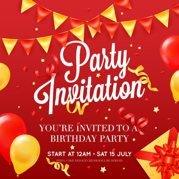 Modelo de cartaz de cartão de convite de festa de aniversário com decorações de balão de teto Vetor grátis