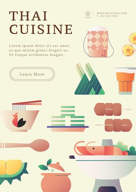 Modelo de cartaz de comida tailandesa Vetor Premium