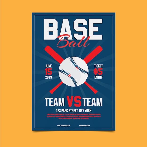 Modelo de cartaz de competição de beisebol Vetor Premium