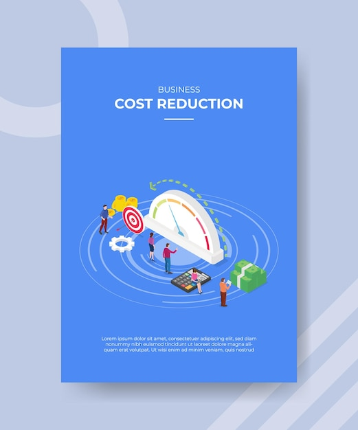 Modelo de cartaz de conceito de redução de custos com ilustração vetorial de estilo isométrico Vetor grátis