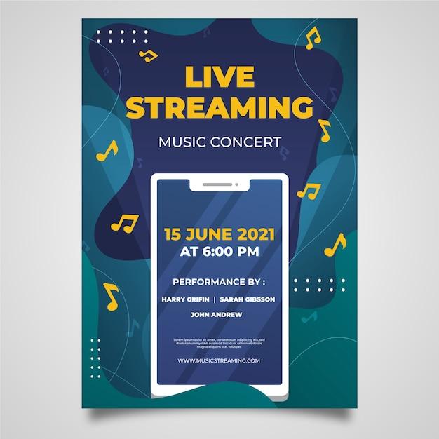 Modelo de cartaz de concerto de música de transmissão ao vivo desenhada à mão Vetor grátis