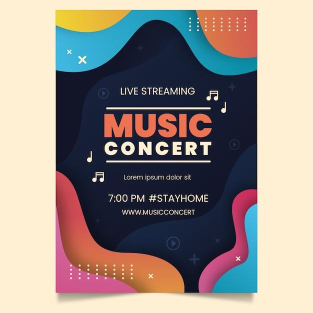 Modelo de cartaz de concerto de música de transmissão ao vivo Vetor grátis