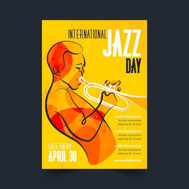 Modelo de cartaz de dia internacional de jazz mão desenhada Vetor grátis