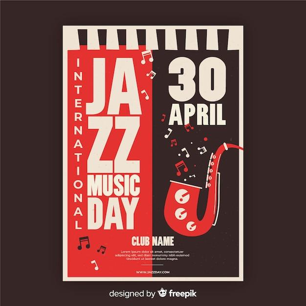 Modelo de cartaz de dia internacional do jazz vintage Vetor grátis