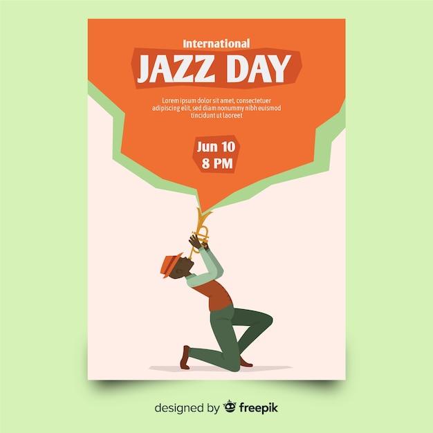 Modelo de cartaz de dia internacional jazz mão desenhada Vetor grátis