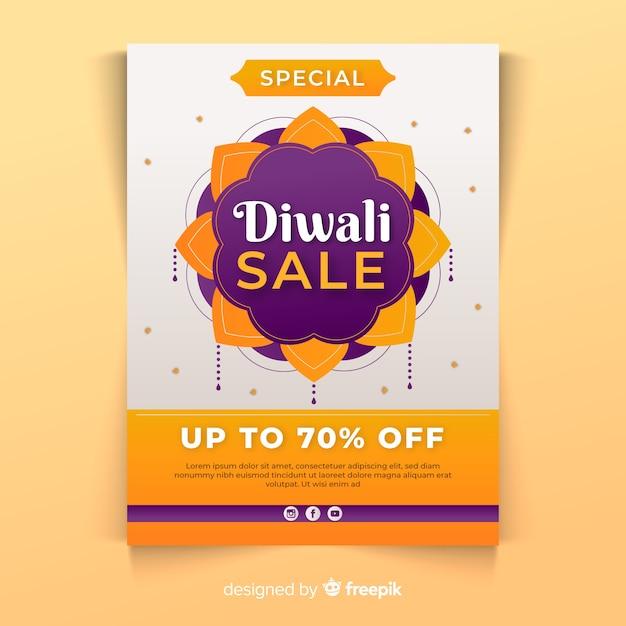 Modelo de cartaz de diwali em design plano Vetor grátis