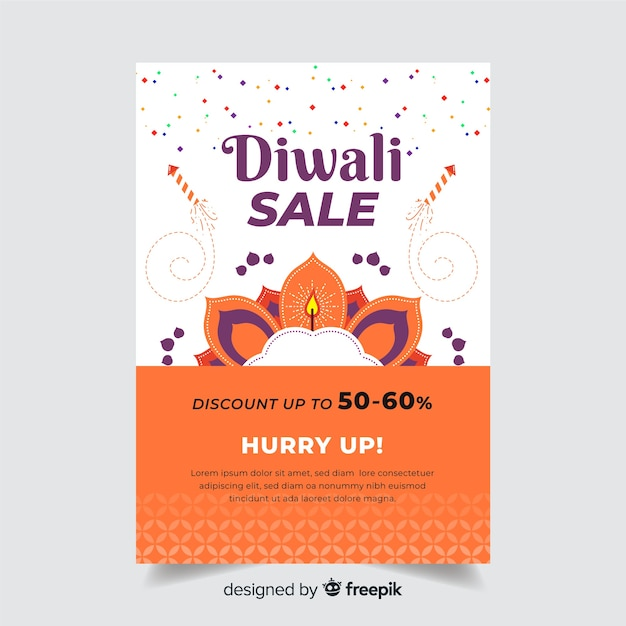 Modelo de cartaz de diwali plana e apresse-se texto Vetor grátis