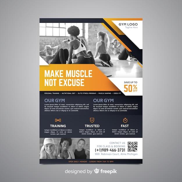Modelo de cartaz de esporte com foto Vetor grátis