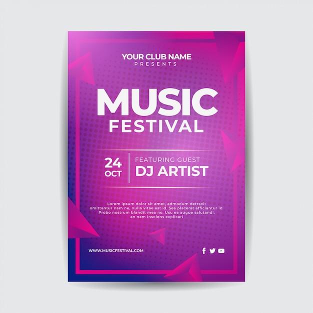 Modelo de cartaz de evento de música com formas abstratas Vetor Premium
