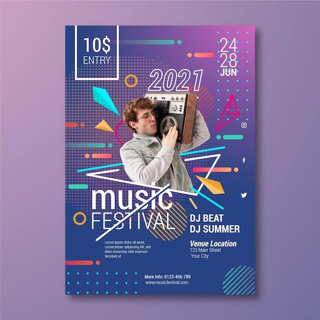 Modelo de cartaz de evento de música com foto Vetor grátis