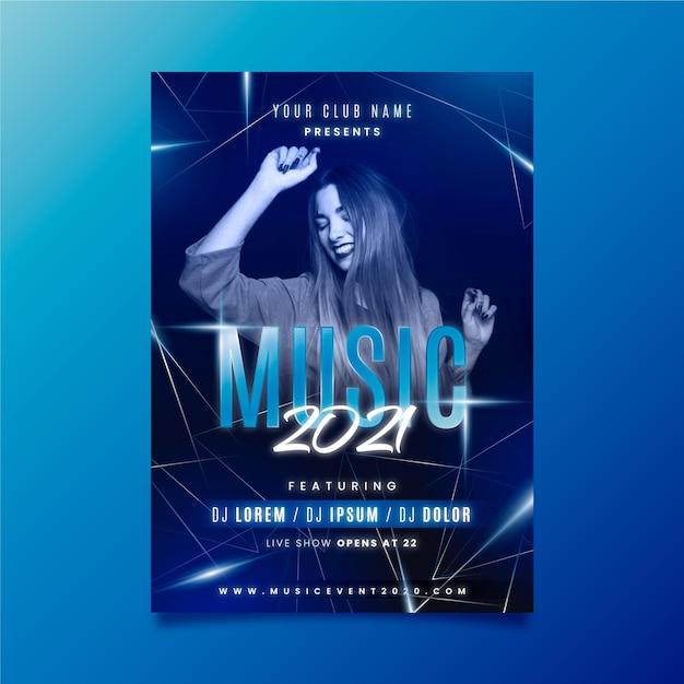 Modelo de cartaz de evento de música com mulher dança Vetor grátis