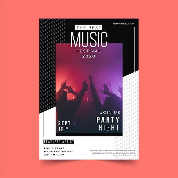 Modelo de cartaz de evento de música de noite de festa Vetor grátis