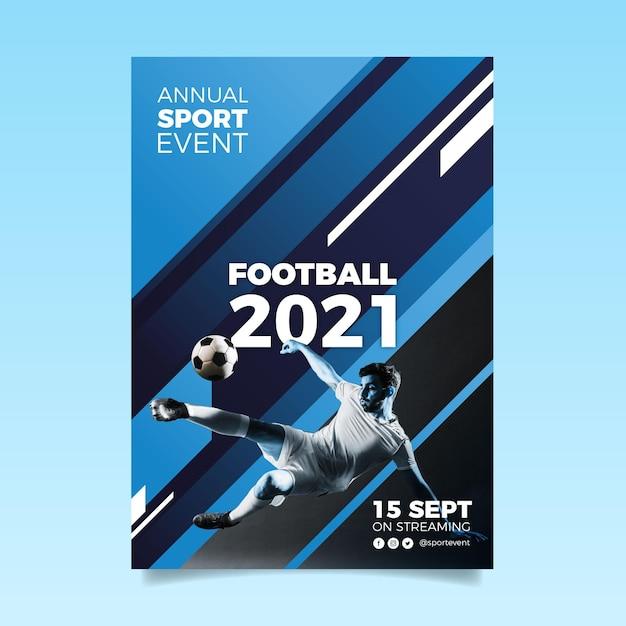 Modelo de cartaz de evento esportivo abstrato 2021 com foto Vetor grátis
