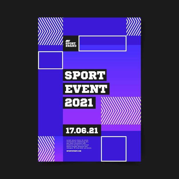 Modelo de cartaz de evento esportivo de quadrados geométricos Vetor grátis