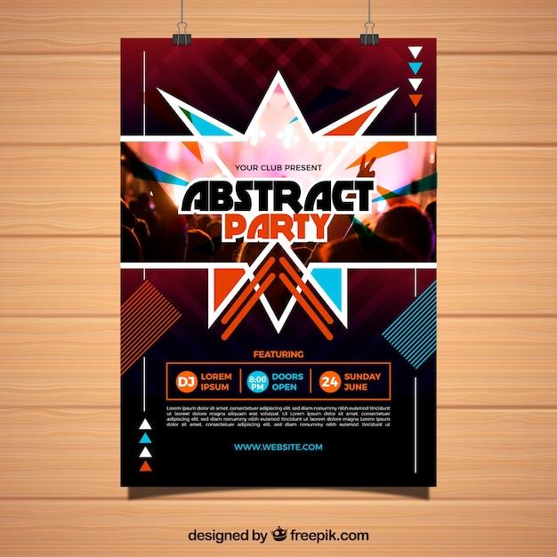 Modelo de cartaz de festa com design abstrato Vetor grátis