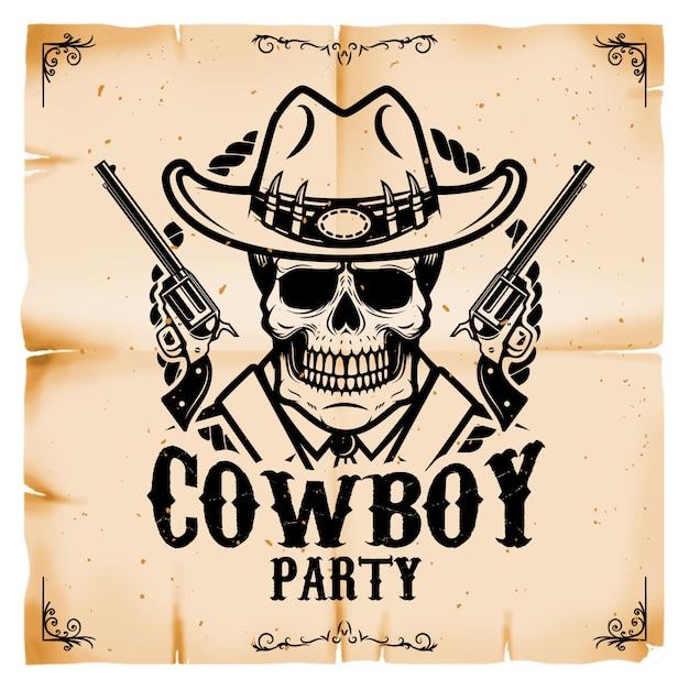 Modelo de cartaz de festa cowboy com fundo de textura de papel velho. tema oeste selvagem. ilustração Vetor Premium
