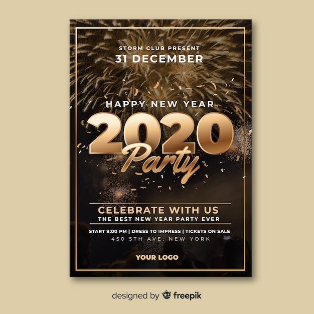 Modelo de cartaz de festa de ano novo com foto Vetor grátis