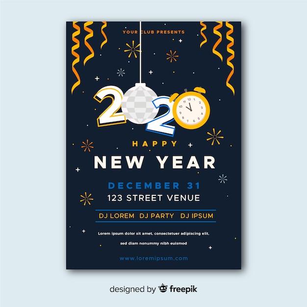 Modelo de cartaz de festa de ano novo design plano Vetor grátis