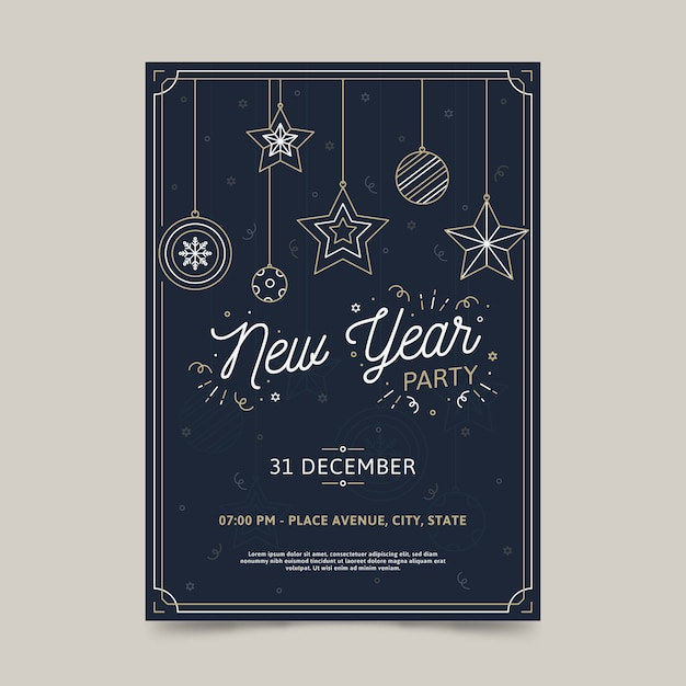 Modelo de cartaz de festa de ano novo no estilo de estrutura de tópicos Vetor grátis