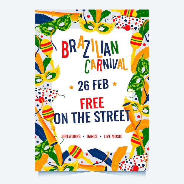 Modelo de cartaz de festa de carnaval brasileiro de design plano Vetor grátis