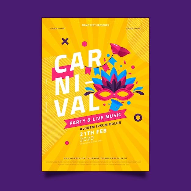 Modelo de cartaz de festa de carnaval de design plano Vetor grátis