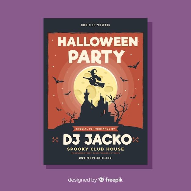 Modelo de cartaz de festa de dia das bruxas assustador com design plano Vetor grátis