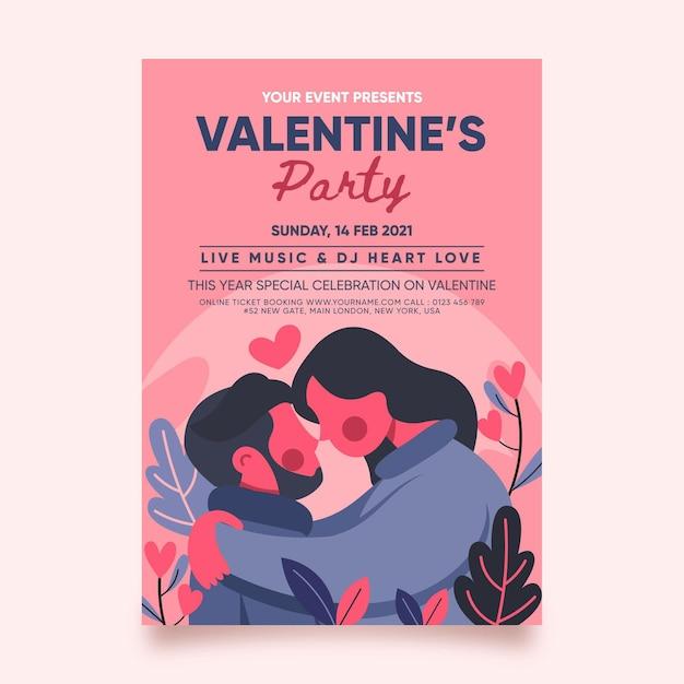 Modelo de cartaz de festa de dia dos namorados de design plano Vetor grátis
