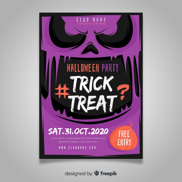 Modelo de cartaz de festa de halloween de design plano Vetor grátis