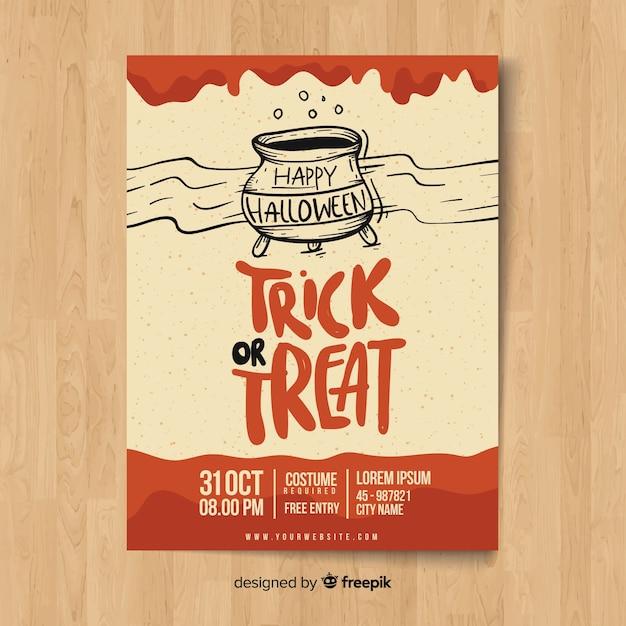 Modelo de cartaz de festa de halloween desenhada mão moderna Vetor grátis