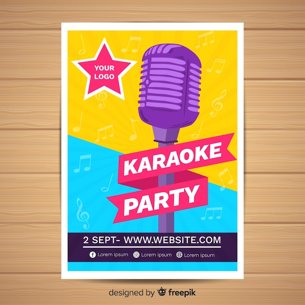 Modelo de cartaz de festa de karaoke plana Vetor grátis