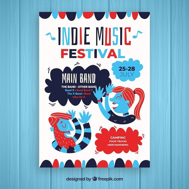 Modelo de cartaz de festa de música indie Vetor grátis