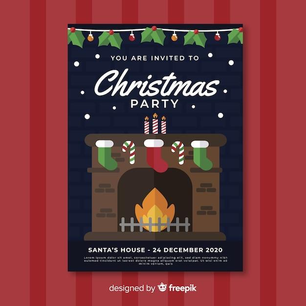 Modelo de cartaz de festa de natal com lareira em design plano Vetor grátis