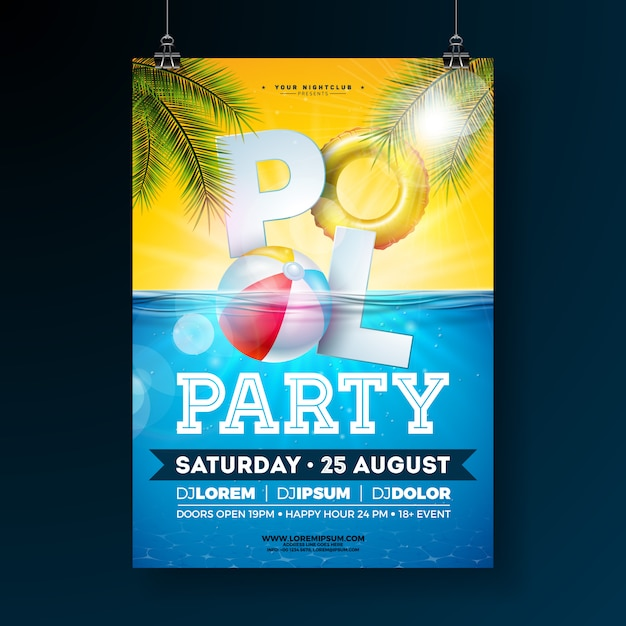 Modelo de cartaz de festa de piscina de verão com bola de praia e flutuar Vetor grátis