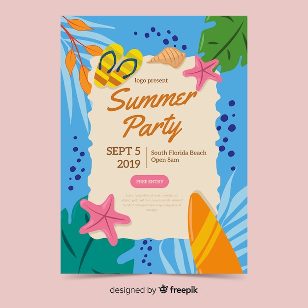 Modelo de cartaz de festa de verão desenhada mão Vetor grátis