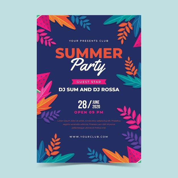 Modelo de cartaz de festa de verão design plano Vetor grátis