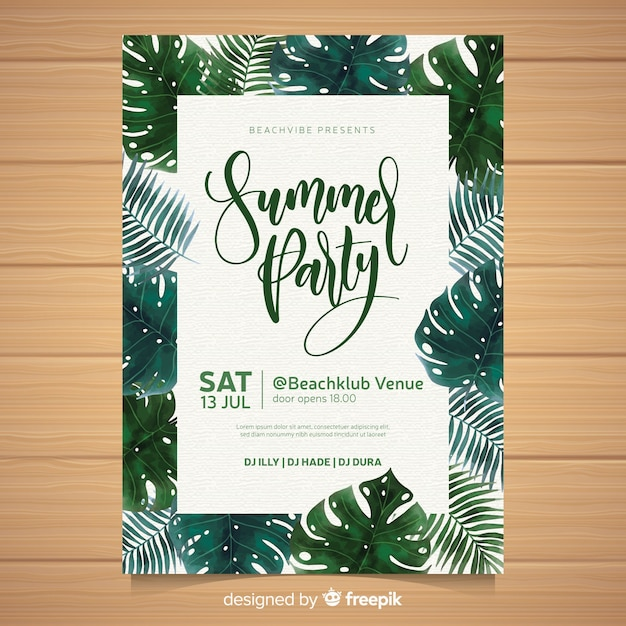 Modelo de cartaz de festa de verão em aquarela Vetor grátis