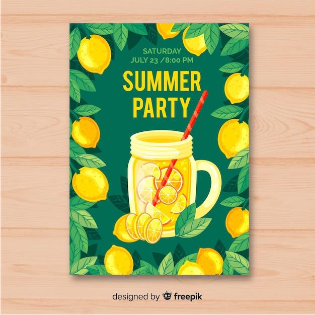 Modelo de cartaz de festa de verão plana Vetor grátis