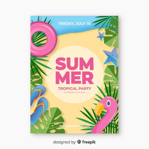 Modelo de cartaz de festa de verão realista Vetor grátis