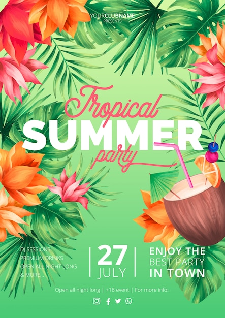Modelo de cartaz de festa de verão tropical com coco Vetor grátis