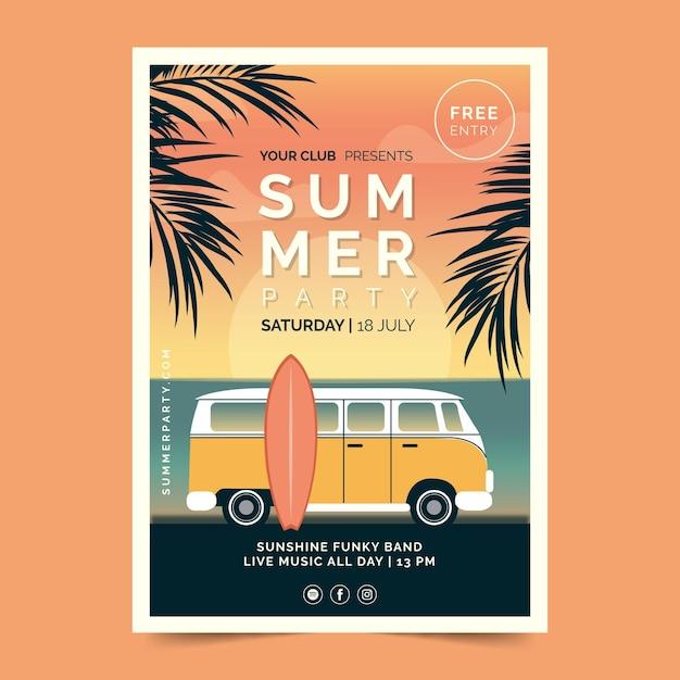 Modelo de cartaz de festa de verão vintage Vetor grátis