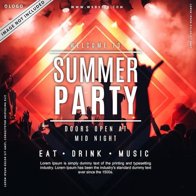 Modelo de cartaz de festa de verão Vetor Premium