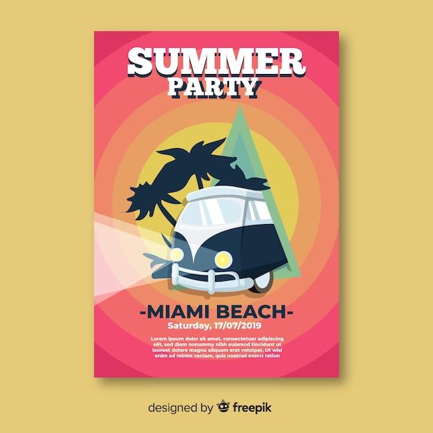 Modelo de cartaz de festa de verão Vetor grátis
