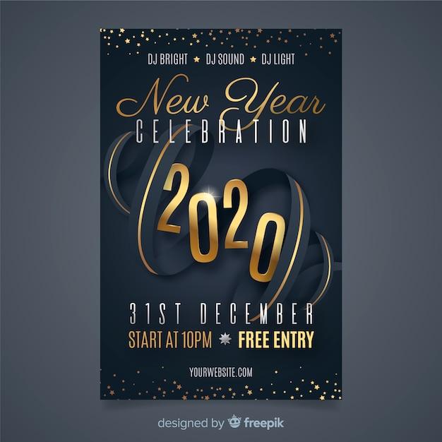 Modelo de cartaz de festa design plano ano novo 2020 Vetor grátis