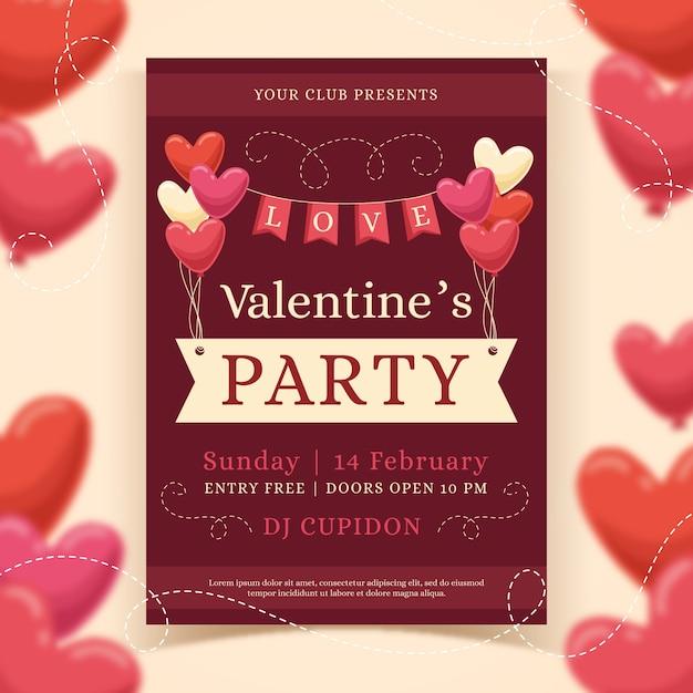 Modelo de cartaz de festa dia dos namorados desenhados à mão Vetor grátis