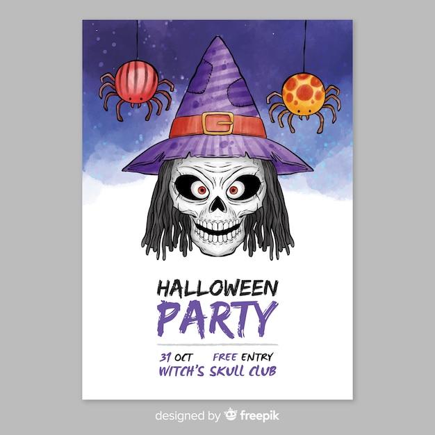Modelo de cartaz de festa em halloween em aquarela Vetor grátis
