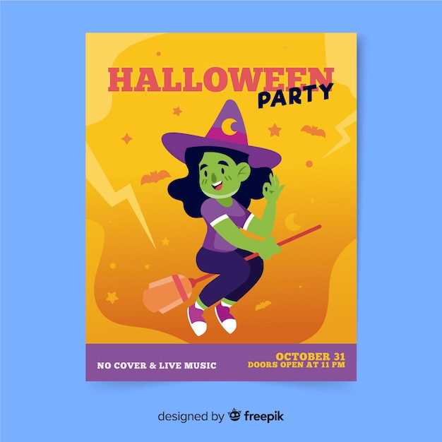 Modelo de cartaz de festa halloween desenhado à mão Vetor grátis