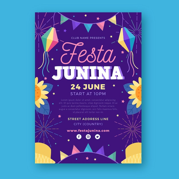 Modelo de cartaz de festa junina de design plano Vetor grátis