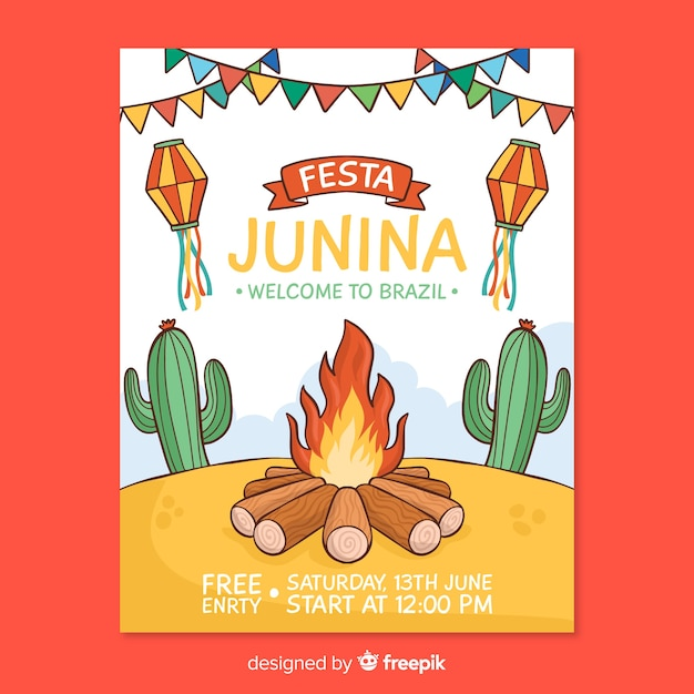 Modelo de cartaz de festa junina de mão desenhada Vetor grátis