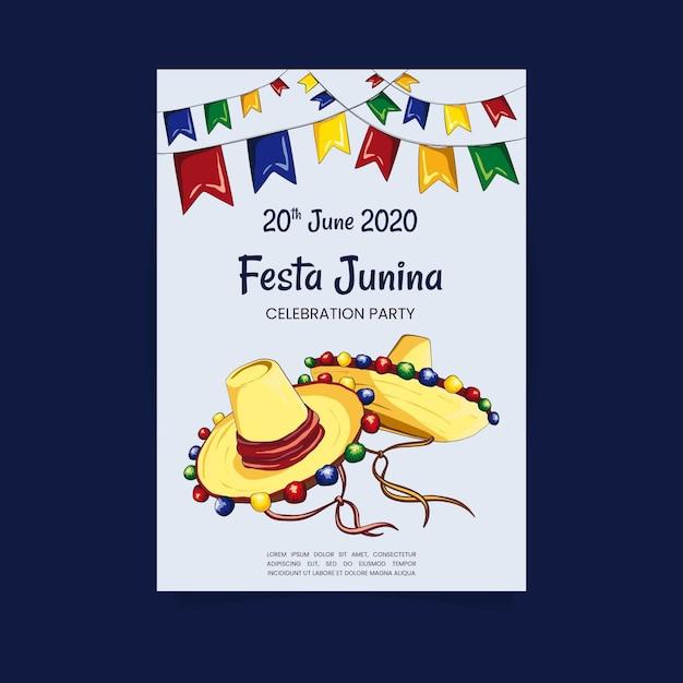 Modelo de cartaz de festa junina desenhada de mão Vetor grátis