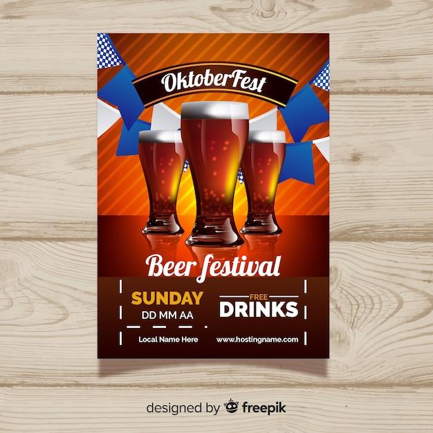 Modelo de cartaz de festa moderno oktoberfest Vetor grátis